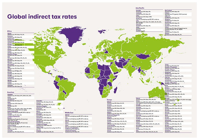 Map of indirect tax rates globally